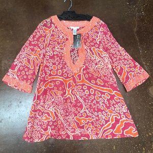 Diane von Furstenberg Pink & Orange Tunic Top